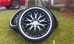 they are black chrom rims tires are like brand new i paid over 2500 for them used for less then one summer just sold car so the no good to me 5 bolt pattern honda,toyota,bmw,scion,ford,gmc