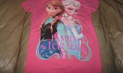"DISNEY'S FROZEN t-shirt says ""Family Forever"" on front of t-shirt In new condition size: XL (14-16) Can meet in west end of ottawa (kanata) or pickup in Constance Bay"