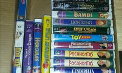 Large selection of VHS Disney movies; some Masterpiece and some Black Diamond Classics. $20 each or make an offer on the collection.