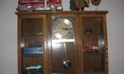Nice solid oak wall clock. It can be customized to suit your needs. Great gift of a cabinet for your own miniatures collection. First picture is only for illustration of what is possible. Just add your own version of a quartz clock movement. Four