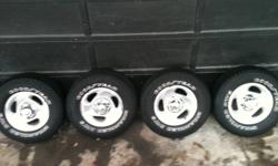 Set of 4 Dodge Ram 1500 Alloy Rims and tires. Mounted, balanced and complete to install. Tires are Approx 50% tread wear. Minor curb rash etc. Must sell  $350 for all or best offer. Call Rob at 540-7385