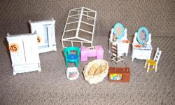Plenty of wooden and plastic doll house furniture. Also have small dolls, SHINGLES, FLOORING, ELECTRICALS, dormers, PAINT IN SMALL TINS. Welcome to view. I have more pictures. baby in white sheets-sold