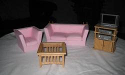 For sale is a 1/12/scale living room furniture set for your dollshouse. The furniture has never been used. If interested please call 519 542-1595.