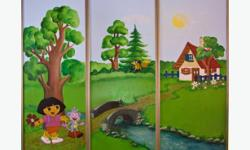 Mural doors for child room. Hand painted on standard sliding doors (3 panels) for apartment's wardrobe. Excellent decoration for children room. Just replace existing doors with these (all the original wheels are still there) or cut it out from the frame