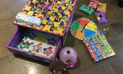 Dora the explorer toys. Sold as a set or individually. Dora the explorer game set includes 7 games: Chess with Dora and swipes, Domino Game, Bingo and 4 card games( crazy eight, old maid, go fish and memory match. The game board is made of durable with