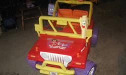 For Sale a Electric Dora the Explorer Jeep in excellent condition Asking $160 O.B.O
