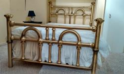 "Antique brass bed head board and foot board with protective coating to eliminate polishing. Iron rails to support mattress and box Double: 53 x 74"" Sealy Posturepedic mattress and box spring included if you wish. Box has always had dustcover. This has"