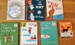 Very good condition- hardcover. All for only $10. The Cat in the Hat, The Nose book, Are you My Mother?, The Shape of Me and Other Stuff, Inside, Outside, Upside Down, Ten Apples up on Top, Oh, the Thinks you can Think!