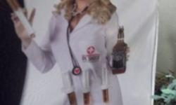 Fun World. New in packaging. Size small (fits 2-8). Costume includes: Lab coat with 4 syringe loops, screened logo front, velcro tab closure, 4 syringes, and stethoscope. Machine washable. Check out my other costumes and decorations available this weekend