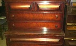 Upright dresser with 2 bedside stands, dark finished, gently used in good condition