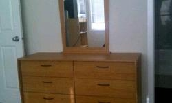 I have a a dresser with mirror and a matching night table asking $200 ono. I also have a book case $30 and a tall shelf $50. Moving and cannot take it with me. Please contact me at 780-370-7370.
