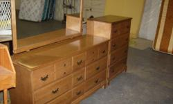 DRESSER SET Dresser Mirror & Highboy ( Solid Wood ) Exelent Condition Very Nice Phone 227 / 3805 Loc. 112 Ave ( E ) North ( East End Of Building )