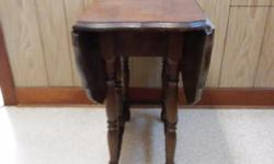 """Drop leaf gate leg table, 32"""" wide � 43"""" long � 30"""" tall, center is 13"""" and each leaf is 15"""", made of maple, table is from the 1930's or 1940's."""