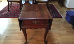 """drop leaf table with drawer leaves up 361/2"""" wide X 27"""" deep leaves down 201/2"""" X 27"""" unsure of manufacturer, think its also Drexel. queen anne style legs"""
