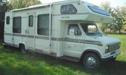 1987 Glendale stirling series, C Class RV, 26ft, E350 ford 460 dual fuel, propane and gas, cheap to drive, 71,500km's,1 piece roof, tilt, cruise, onboard 4000watt honda generator with remote start has 170 hours on it, sleeps 6, kingsize over head bunk,