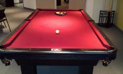 Dufferin Leisure Pool Table (4? x 8 ? )   This table was purchased brand new about 8 years ago for our company?s office, which is where it remains today.  It has seen very little use and the pockets, rails and felt are in great condition. It comes with a