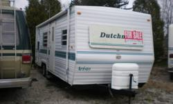 27' Dutchman sleeps 6, very clean and in excellent condition, all new rubber around windows, 2 emergency windows $7,200 White with blue trim. Tires in very good condition with spare, full size awning in very good condition. Trailer can stay at this