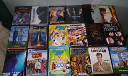 Selling DVDs, ranging from movies, TV show seasons, cartoons. Totalling 61 DVDs. Conditions vary for each DVD, wear on case and discs. DVDs are as follows -Scarface - Two disc Anniversary Edition -Hot Shots -Hot Shots Part Deux -Highlander Director's Cut