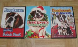 I am selling the following movie sets. They are in perfect condition. They are originals and come in their original cases. I will not separate the sets. $25 Beethoven 1-5 (Pooch Pack) Beethoven's Christmas Adventure Beethoven's Big Break $20 The Dog Who