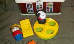 In mint condition ! From a pet free/ smoke free home! House in a tin lunch box with a handle;Designed to resemble the orginal School House;Includes 2 LP figures teacher with desk , pupil with desk , dog figure, ;Also includes spinning merry-go-round for