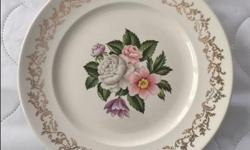 Vintage item from the 1940s Materials: ironstone, 1940, flowers, plate, salad plate, Bouquet, British Empire Ware, 22 karat gold, filigree, gold flowers, central flowers, floral filigree, side plate