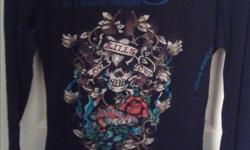 Size S Authentic Ed Hardy Christian Audigier rhinestone love kills slowly long sleeve shirt like new condition