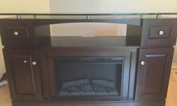Electric Fireplace TV Stand Measurements: 5' Long 36`` Tall with Glass top 21`Wide at corners 22`wide at middle with Glass top Awesome Tv Stand Originally paid $600 Fireplace gives off nice heat and is great for a little ambience in the tv room. The glass