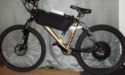 "Mountain Ebike ( double suspension ) Mountain Ebike parts: -bike tires: Kenda, 26"" x 1.95"" ( unidirectional tires ) -frame bike size: 18"" ( inches ) -bike brand: CCM -suspension type: double suspension ( front: 80mm / back: 650lbs,170mm ) -brakes: 160mm"