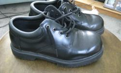 Elliot Lake: Size 9 1/2W  Work Crew Black shoes, slip resistant.  Worn only once then laid off from work. have no further use for them. Paid $75.00    they are on sale at Work Crew for $68.00  I am asking just  $20.00 for them.