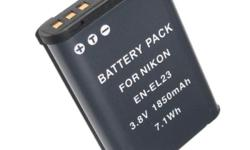 1850mAh EN-EL23 battery For NIKON COOLPIX P600 EN-EL23 ENEL23 -Brand New. -Charge your laptop at work or when going out of town -Don't bother to unplug the original one from home -Carry an extra light weight and handy travel charger, to charge anytime,