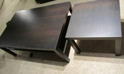 End Table and Coffee Table. Chocolate Brown in Colour. Stand 18 inches high. Coffee Table is 2.5 feet x 4 feet. End Table is 22 inches x 22 inches. Both in excellent condition. Asking $85.