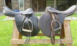 Two English saddles for sale. Both in good condition. Priced for quick sale. The one on the left of the photo is a Jorge Cavanes (asking $150). It has a 17 inch seat and a 15cm gullet. $50 for the one on the right. It has a 16.5 inch seat and a 14cm