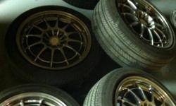 I'm selling cuz I need a different kind of enkei rims of style never track them they are mind condiction and has nitrogen only and have been balance one of to rims just have curb rash just tiny but does not liking air and tire are 60% threat just got it
