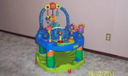 3 stage active learning centre exersaucer. Can change into three different centres for the child. 1) can lay on back and play with toys above their head. 2) Once sitting up can sit in seat and play with the toys around the exersaucer. 3) Can turn into an