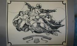 """Exceptional original ink/crosshatch ink """"In the beginning"""" $250.- Art: 22"""" x 28 1/2"""" Matt: 28"""" 1/2 x 34 1/2"""" Very detailed exquisite original art piece done in black and white with ink and crosshatch ink. Very detailed fine work. Includes mat board. You"""