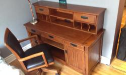 Strong, Sturdy, High quality Carson Wood Desk complete with Hutch and Chair. (To be sold as a set only) Bought for $2200 at THE BRICK a year and a half ago. Perfect for someone who likes to read or write, or study. This would be ideal. I'm moving out of
