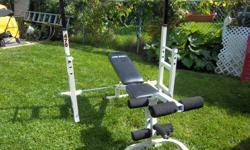 "Exercise Bench and squat rack plus bench. Squat rack is adjustable width and height Weight capacity 400 lbs ""Free Spirit"" bench back is adjustable plus leg curls Not sold separately. Only $275. We are located in Orleans. See our list of other items for"