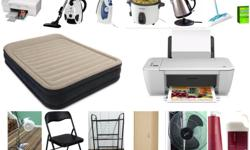 STARTING FROM THE TOP RIGHT: HP Deskjet F4280 All-in-One Printer $45 BISSELL Powerforce Canister Vacuum $50 T-FAL Ultraglide Iron $15 Black & Decker 16-Cup Multi-Use Rice Cooker $20 PC Water Kettle $20 Swiffer Sweeper COMES WITH REFILLS $25 Intex Premium