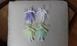 "Skirt & wing colours - green, yellow, white, purple Each bear is 6"" tall. Very good condition."
