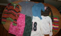Mostly size 7. some 8 and 6, all fit my daughter when she was in a 7 though(different brands) Gap, La senza girl, old navy, childrens place. From a clean smoke free home. Feel free to call anytime. 905-373-1225, please check out my other ads if you have