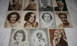 ALL 12  MEASURE JUST UNDER 8 BY 10 INCHES $5 EACH OR THE LOT $45 FOR THE LOT THEY ARE A PAPER LIKE MATERIALthicker than paper less then cardboard ??   ANITA PAGE HELEN TWELVETREES JANET GAYNOR GRETA GARBO MARY BRIAN JOAN CRAWFORD JOHN BOLES GEORGE BANER