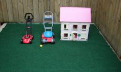 Wood doll house asking $20 for it Lawnmowers $10 each Tall Basketball stands for outside adjust for height asking $20 each wood kids table set $20