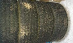 Firestone Destination A/T's   275/60/20's   2 tires are still in great condition, I dont have a depth gauge, but I would say 2 have about 70% tread remaining, one has about 25% left and one is just above wear bars.    Tires were removed from a 2009 Ram a