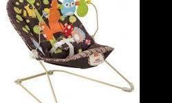Fisher Price Calming Vibration chair for infant. This chair is great for newborns and youth infants. Worked very well for us and enable us to have baby sit down while we worked on other things. Chair comes with toys that hang above on arch. Picture as