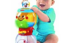 $26.99 US + shipping and taxes at toysrus.com   The Roll-a-Rounds Swirlin' Surprise Gumballs features a recognizable gumball machine format for baby to 'dispense' the balls.   Baby loads the 4 balls in the upper bowl and with each press of the lever, a