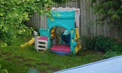 Plastic castle by Fisher Price with sandbox, slide and climbing structure. For younger kids. In great condition, just a bit of dirt on it. It's at the end of our driveway so please feel free to pick up any time and leave $40 in the mailbox. Will provide