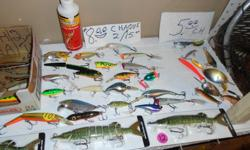 over 300 lures .50 cents to 12$ spoons, spinners bobbers n jigs , , 1 rod n reel (new) 25$, i landing net 15$, 1 large tackle box 35$, etc. all half price than stores the wole lot is Worth 900$ , i wud sell NOW for 600$, if i sell 1 item , this deal is