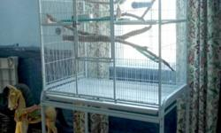"""White flight cage in excellent condition. Measurements are 62"""" overall height, 21"""" wide and 32"""" long. New $500.00. Asking $250.00. Comes apart easily and light weight."""