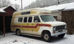 460 cubic inch, 3 burner stove, 3 way fridge, double bunk, sleeps 4, toilet, electric heater, propane furnace, great tires, spare, trailer hitch, runs excellent, dual fuel tanks, new master c;ylinder, just needs a new owner, have recently upgraded.