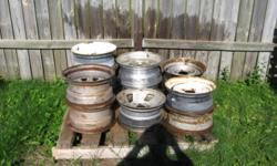 "Ford Truck steel rims for sale. Mostly 5 stud standard 15"" and mag. style steel rims. $15 each. Call 622-0167"